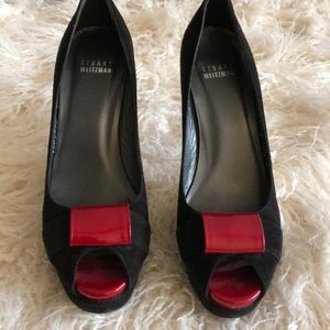 Stuart Weitzman suede black & red patent leather